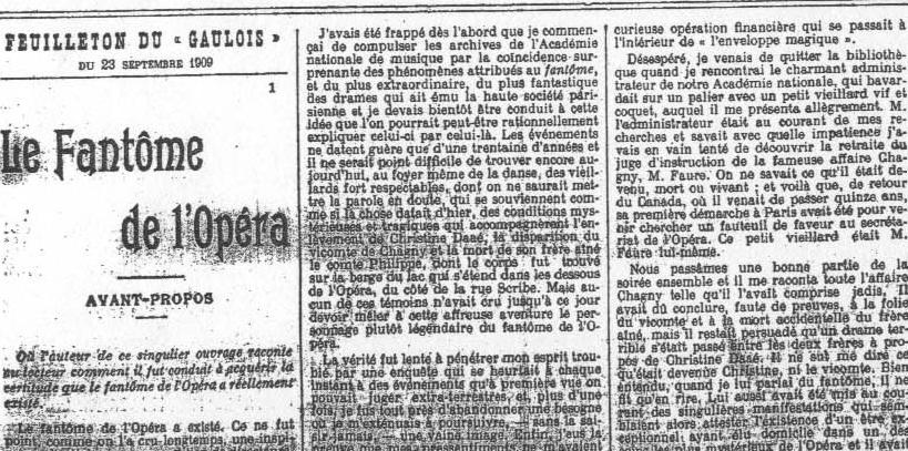 Фрагмент страницы Le Gaulois с прологом