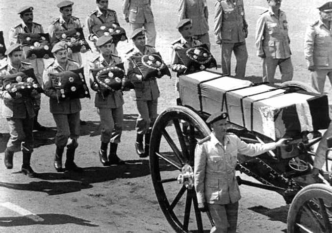 Military Men Walking Behind Honor Carriage for The Late Anwar Sadat