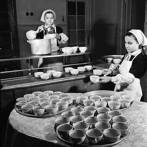Soviet Schoolgirls Filling and Carrying Cups of Soup